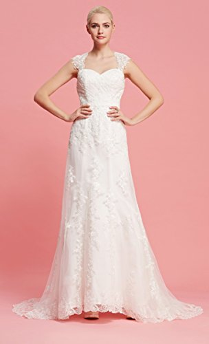 Brautkleid mit herzförmigen Ausschnitt und Träger aus transparentem Stoff und Spitze - 3