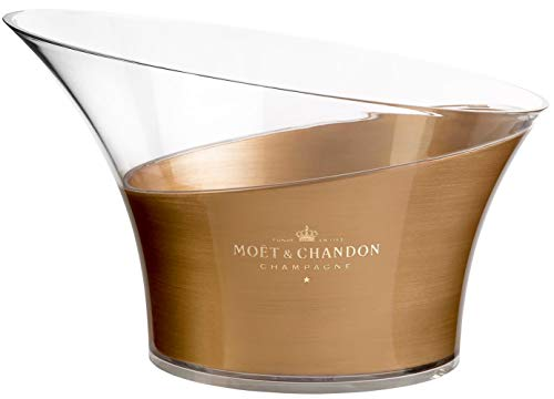 Moët & Chandon Eiswanne Champagner Flaschenkühler Double Magnum Size für mehrere 0.75l, zwei 1.5l oder eine 3 Liter Jeroboam Flasche Gold Transparent