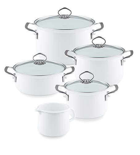 Riess, 0546-33, enamel cooking pots, family pot set, 5 pieces, Arctic white, 4 pots and a milk pan.