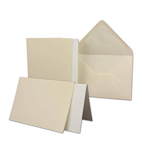 25 Sets - großes Kartenpaket mit 25 Faltkarten & 25 Umschlägen und Einleger - 10,5 x 14,8 cm - DIN A6/C6 - Creme-Chamois - GERIPPT