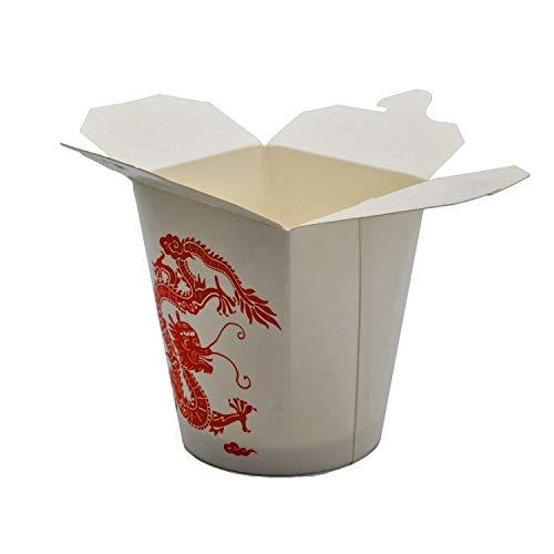 Pack & Cup Bio Asia-Box mit Faltdeckel, Einweg Döner-Box für Fingerfood Red Dragon 500 ml 30 Stück