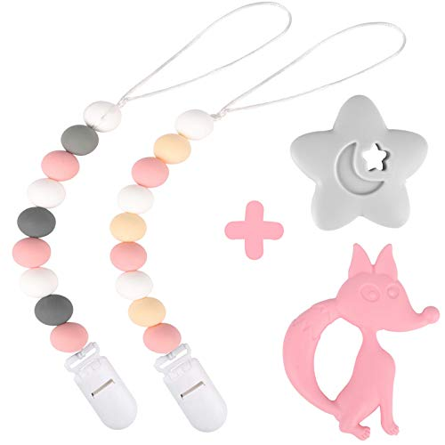 Silicone Pacifier Clip by Dodo Babies Pack of 2 + Teething Toy, Premium