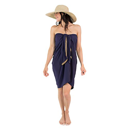 SUN50 Women's Premium Sarong UPF 45+Skin Cancer Foundation (Made in USA) (One Size, Navy)