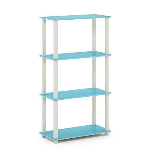Furinno Turn-S-Tube 4-Tier Multipurpose Shelf Display Rack, Square, Light Blue/White -  18028LBL/WH