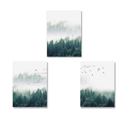 KELEQI Lienzo nórdico, Pintura artística, Bosque de Niebla, pájaros, Paisaje, póster, impresión, Cuadro artístico de Pared, Sala de Estar, decoración de Oficina en casa (75x100cm) X3 sin Marco