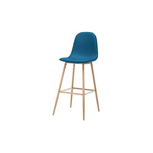 Aucune HARRI Tabouret de Bar en métal - Tissu Bleu - Style scandinave - L 45 x P 54 cm