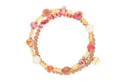 Lizas - Bracciale con perle rosso/albicocca, vari modelli e sintetico., colore: Coralle Orange marrone chiaro a due file, cod. Lizasrot