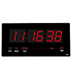 HOMSMILE 18.5 Inch Large Red Oversized LED Clock with Indoor Temperature, Calendar Display with Date and Day of Week,Mounted Electric Wall Desk Clock Timer,Red