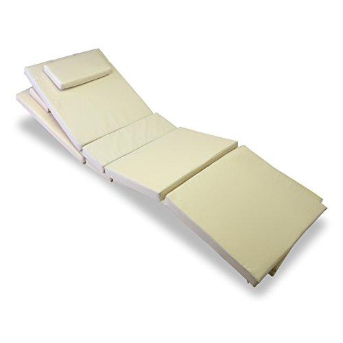 Nexos Trading Nexos GL06020_SL2 Divero 2-er Set Liegen-Auflage Kopfkissen für Sauna Garten Terrasse hochwertig Creme