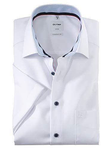 OLYMP Herren Oberhemd Kurzarm Luxor,Uni,Comfort fit,New Kent,Weiß 00,48