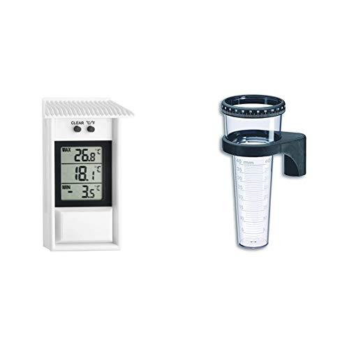 TFA Dostmann Digitales Maxima-Minima-Thermometer, wetterfest, für innen oder außen geeignet & 471001 Regenmesser, schwarz