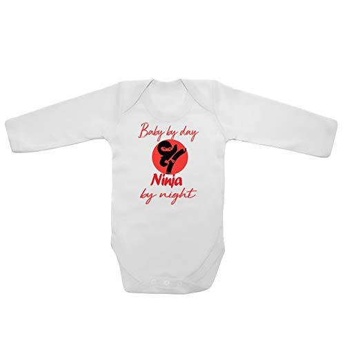 Body unisexe à manches longues pour bébé avec inscription humoristique et imprimé en anglais « Baby by Day Ninja by Night »