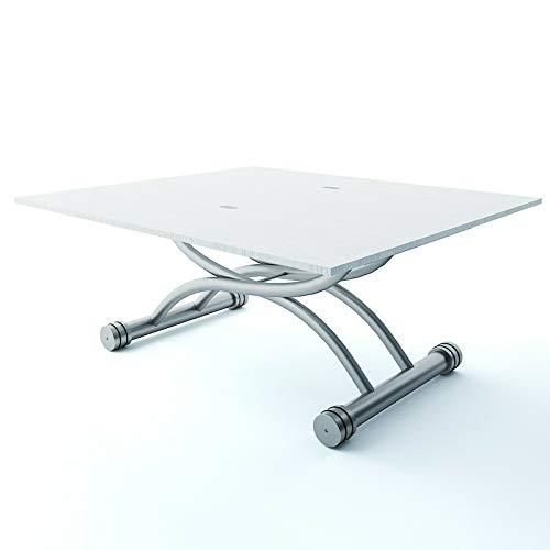 Tavolo Da Pranzo Allungabile Pieghevole Multifunzione Regolabile in Altezza, Scrivania Salillo Con Gambe in metallo, Design Moderno Elegante Minimal 100 x 57 x 47.5 cm Bianco Frassinato