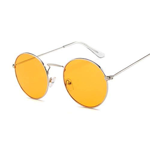 Gafas de sol redondas de metal clásico vintage para mujer pequeñas retro rojo naranja claro rosa mujer gafas UV400 adecuado para pesca y golf, Plata y naranja.,