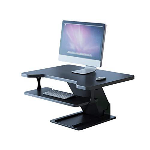 LeiQuanQuan Stehpult ConverterSit-Stand Workstation, Gasdruckfeder Höhenverstellbar, Display Und Tastatur Riser, Tastaturablage Schwarz