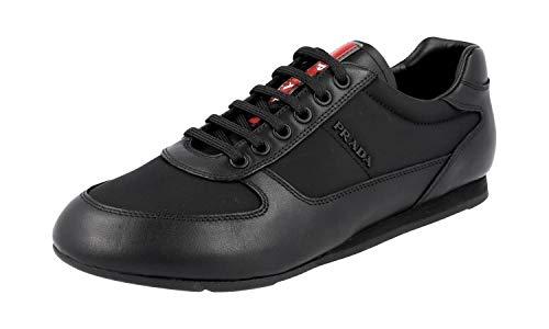 Prada Herren Schwarz Leder Sneaker 4E2777 40.5 EU / 6.5 UK