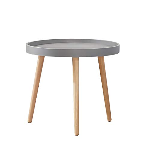 DJX Coffee Table Small Round Plastic Side Table with 3-leg Solid Beech Shelf Modern Tray Table Restaurant Coffee Snack Table, Accent Sofa Side Table Durable (Color : Gray, Size : 50 * 45cm)