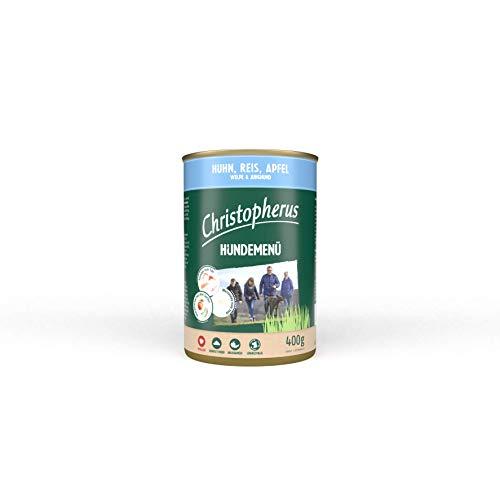 Christopherus Hundemenü Junior, Mit Huhn, Reis, Apfel, Vollnahrung für Welpen und Junghunde, Nassfutter, 6 x 400 g