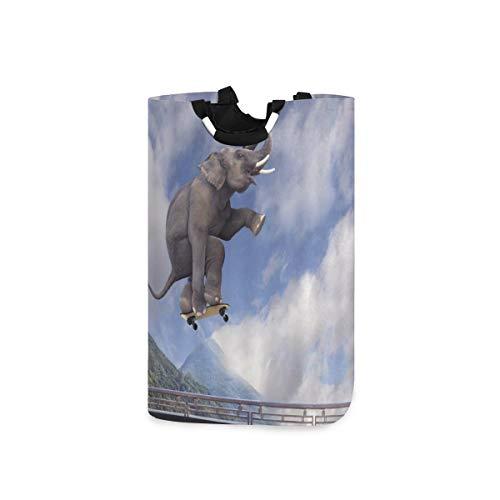 COFEIYISI Wäschesammler Wäschekorb Faltbarer Aufbewahrungskorb,Elefant Sport lustiges Tier verspielter Afrikaner mit Roller, der zum Himmel fliegt,Wäschesack - Wäschekörbe - Laundry Baskets