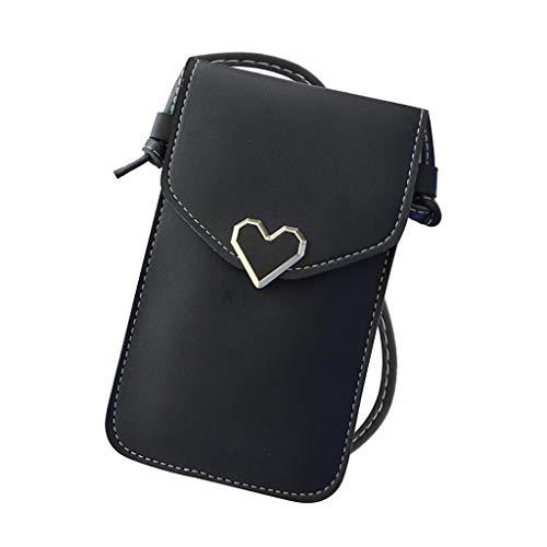 Touchscreen-Handytasche,Chain Phone Bag Klare Transparente Fenster BerüHrt Bildschirm Crossbody Mobile Phone Bag,Damen Tasche (Schwarz)