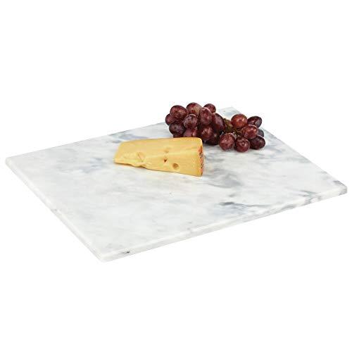 mDesign Plato rectangular para servir – Base de mármol para cocina, comedor, baño o dormitorio – Bandeja para tartas, salchichas y queso o para el desayuno de tamaño grande – gris mármol