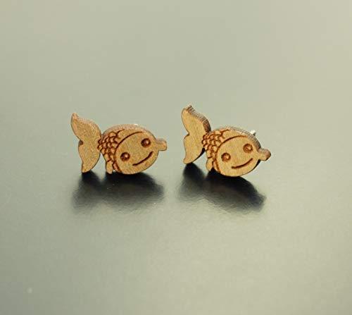 Ohrstecker Fisch Wasser Karpfen Koi Glück Holz Ohrringe Stecker Juvelato