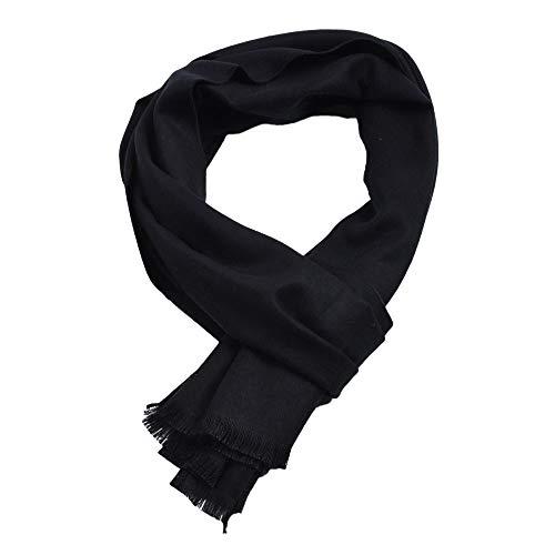 VESNIBA Sciarpa da uomo a maglia calda autunno inverno sciarpa da uomo Basic tinta unita nero sciarpa classica moderna elegante sciarpa invernale lunga Nero 30x180 cm