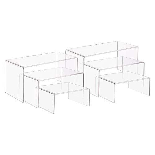 PandaHall - Soporte de exhibición de acrílico de 3 tamaños para joyería en forma de U, 3 pasos, para expositores de joyas, expositores de mesa