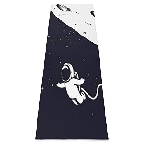 KASABULL Esterilla Yoga Astronauta de dibujo de estrellas, astronauta volador, garabato cerca del tema de la ciencia lunar, dibujo de ciencia dibujado a mano Colchonetas de ejercicio Pilates para
