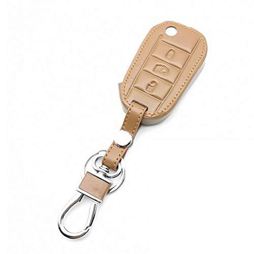 TMAAORS Funda de cuero para llave de coche, funda con 3 botones, accesorios para coche, para Peugeot 3008208308508408 2008