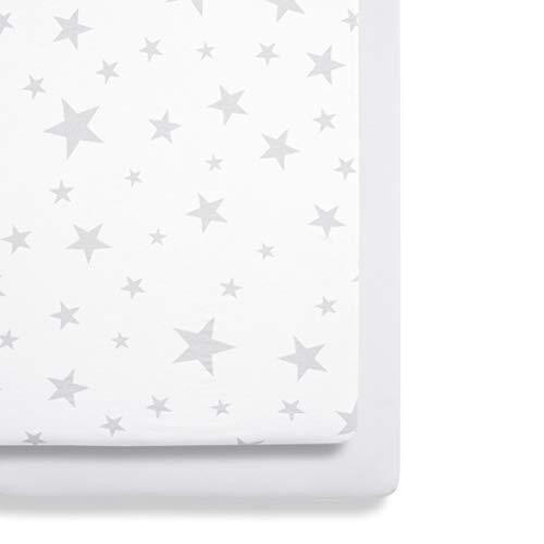 Snuz Bedside Crib Fitted Sheets, Grey Star, Grey/White, 280 g,BD028BB