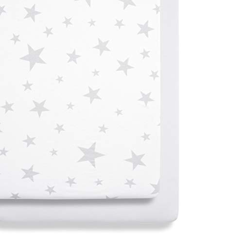 Snuz BD028BB Drap-housse pour lit de chevet Motif étoile gris/blanc 280 g