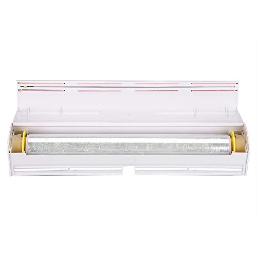 Wilecolly Cortador de Film Transparente, Dispensador de Papel de plástico para Alimentos Cortador de Papel de Aluminio y Film Transparente Almacenamiento de Cortes Cocina Accesorios de Cocina