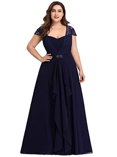 Ever-Pretty Abiti da Cerimonia Donna Taglie Forti Stile Impero Linea ad A Lungo Chiffon Elegante Blu Navy 56