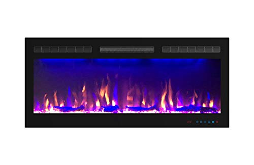 Mystflame Slimline Electric Fireplace|40 inch Wide|in-Wall Recessed & Wall Mounted|Multicolor Flame|Log & Crystal Hearth|750/1500W Thermostat|Remote Control & Touch Screen|Timer Décor Dining electric Features Fireplaces Home Kitchen