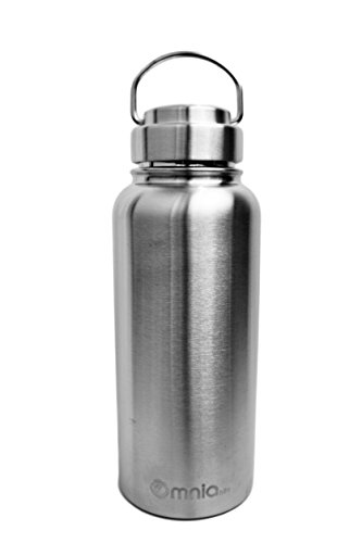 Omnia h2o Canteen - 32 oz Vacuum Insulated Stainless Steel Water Bottle - Wide Mouth Flask with All Metal Lid - Enjoy Hot and Cold Drinks in This Double Walled Thermos Water Bottle