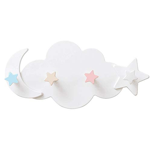 ZZDH Ganchos adhesivos para pared 2 linda estrella luna nube forma de nail-free wall ropa ganchos de la habitación de los niños decoración de la llave de la palanca de la colgadora de ganchos de almac