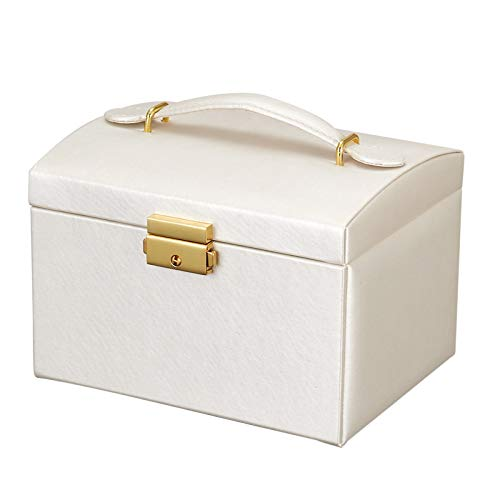 Joyero para mujer con espejo de bloqueo y caja de joyería para niñas, 3 capas de piel sintética suave de alta capacidad, pendientes, anillos, collares, Broocheoche (blanco)