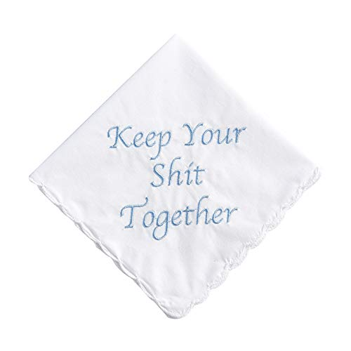 Keep Your Shit Together Wedding Handkerchief in Blue- Something Blue Bridal Keepsake Bride Mother