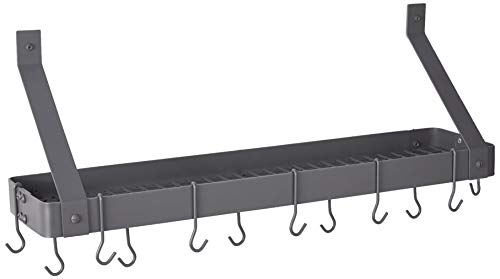 "Old Dutch Wall-Mount Bookshelf Pot Rack with Grid & 12 Hooks, Graphite, 36.25"" x 9"" x 11.5"""