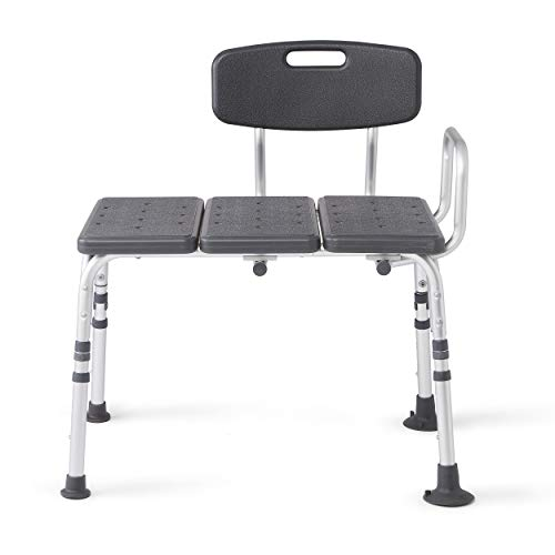 Medline Knockdown Transfer Bath Bench with Back, Microban Antimicrobial Protection, 350lb Weight Capacity, Grey