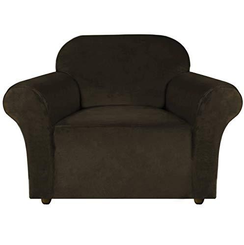 E EBETA Samt-Optisch 1 Sitzer Sofabezug Spandex Couchbezug Sesselbezug, Elastischer Antirutsch Sofahusse für Wohnzimmer Hund Haustier Möbelschutz (Braun)