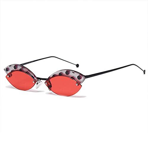 HAIGAFEW Gafas De Sol para Mujer Sombras Redondas para Mujer Gafas De Sol De Cara Fina Gafas con Montura De Leopardo para Mujer Uv400 Proteger Los Ojos-Rojo