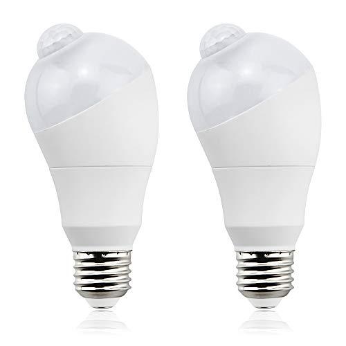 Bonlux Lampadine PIR Sensore di Movimento a LED E27 Vite Edison ES con Sensore Foto Dal Tramonto all'alba Angolo di 360º Regolabile per Scale,Portico,Porta,Seminterrato,Magazzino (Bianco Freddo, 2pz)