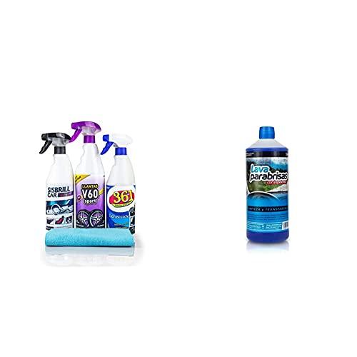 Sisbrill A1127 Limpieza De Productos, Kit Trio Esencial, Set De 4 + A1112 Liquido Lavaparabrisas, 1 Litro