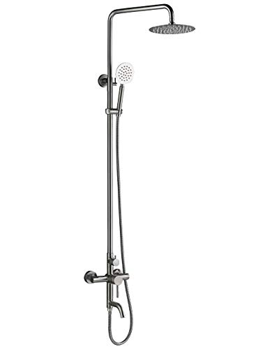 HAOXIN Outdoor Shower Fixtures SUS 304 Stainless Steel All Metal 3 Function Exposed Shower Faucet Set Brushed Nickel A5108N
