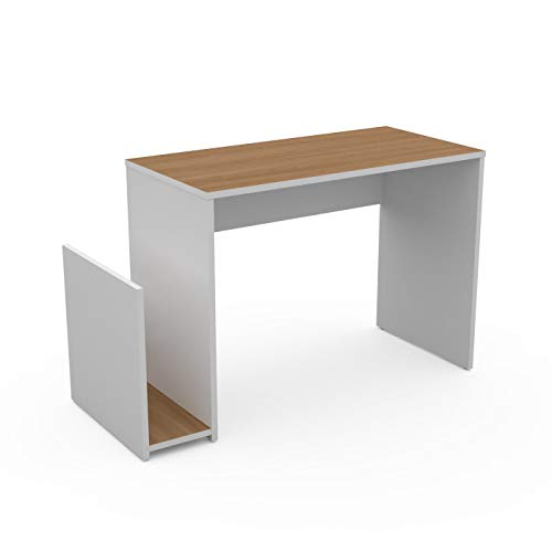LEVIRA Schreibtisch, Computertisch, Tisch Drina, 100 x 50 x 74 - Weiß und Kirsche Schoko