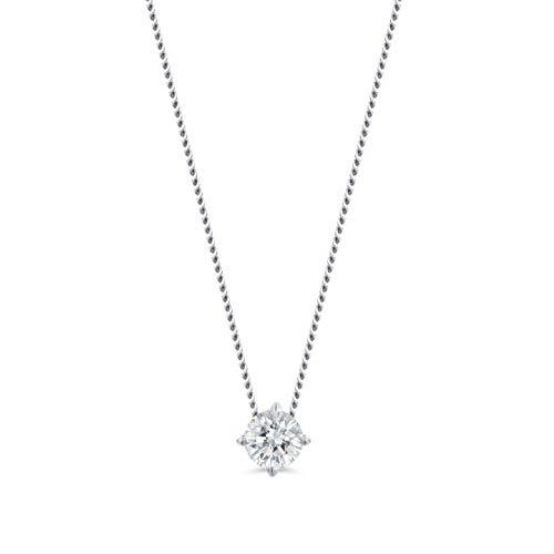 Miore Kette Damen 0.10 Ct Diamant Halskette mit Anhänger Solitär Diamant Brillant Kette aus Weißgold 14 Karat / 585 Gold, Halsschmuck 45 cm lang