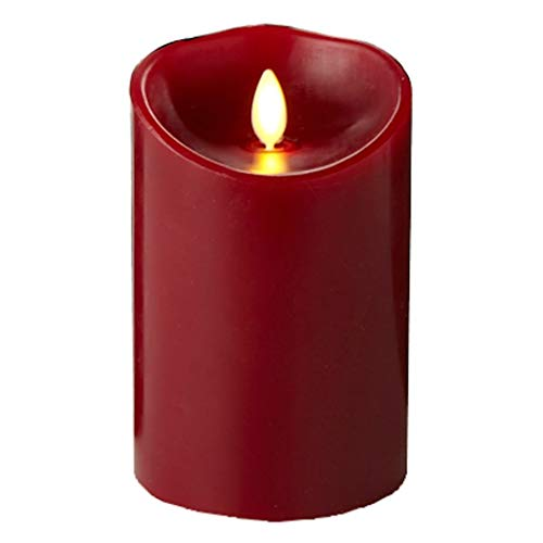 Luminara Flameless Candle: Cinnamon Scented Moving Flame Candle with Timer (5' Red)
