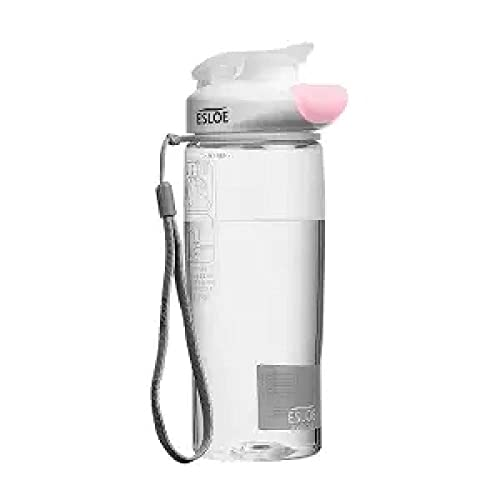 RYTR Botella de agua deportiva, botella de agua Tritan sin BPA/Copa de agua deportiva transparente fitness-Pink_500ml/deportiva para gimnasio, entrenamiento, viajes, oficina.